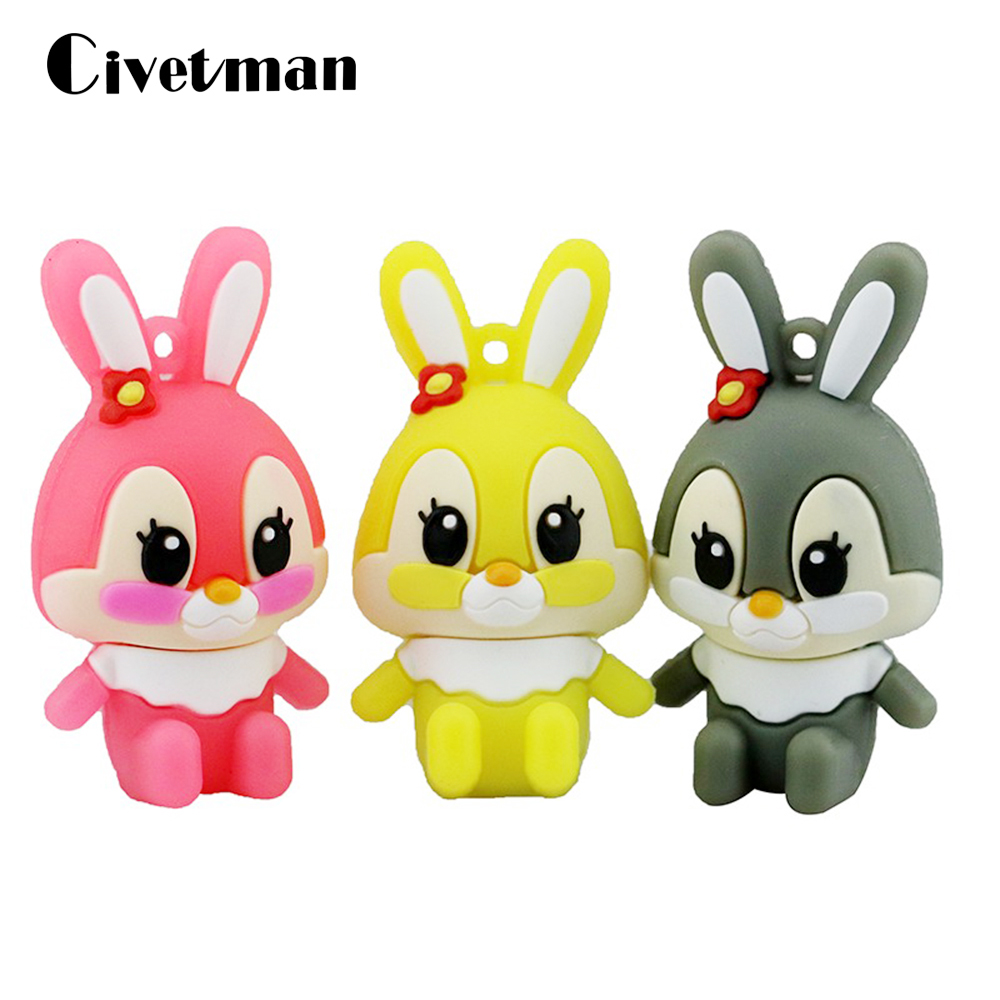 Cartoon Funny USB Flash Drives 16GB Anime Cute Rabbit Pendrive 64GB Personalized 32GB Pen Drive 4GB 8GB Memory Disk Girl Gifts