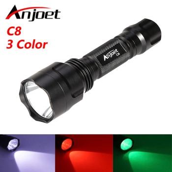 Anjoet C8 White/Green/Red led Tactical flashlight T6 hight power 1-mode Torch lanterna light Hunting Camping for 18650 battery uv red laster xml t6 led hunting flashlight 4000 lumen zoom tactical flash light torch 3 mode for 18650 or aaa battery