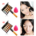 Professional Fashion Women 15 Color Makeup Cosmetic Contour Concealer Palette Make Up+Sponge+Concealer Brush FM88
