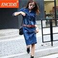 2017 primavera verano dress estilo europeo hasta la rodilla denim dress casual v-cuello jeans vestidos elegantes mujeres de talla grande ropa q12