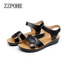 zzpohe 2017 summer  ladies sandals middle-aged non-slip flat comfortable old shoes large size soft bottom women shoes
