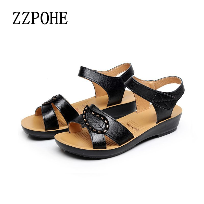 ZZPOHE 2017 Summer New Fashion Ladies Sandals middle-aged non-slip flat comfortable old shoes large size Soft bottom women shoes 2016 summer style transparent sandals white gauze flat point diamond women s sandals flat shoes non slip soft bottom shose