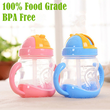 купить BPA Free! 100% Food Grade PP Handle 280ml  Baby Straw Drinking Cup Baby Learn Drinking Straw Bottle Sippy Cup дешево