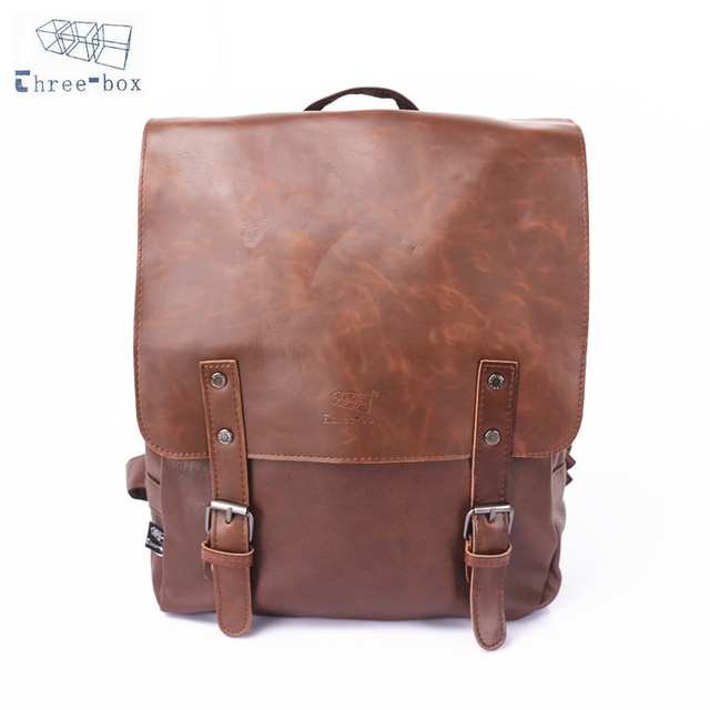 Three Box Brand Women Men Pu Leather Backpack School Bag Travel Book Agers Casual