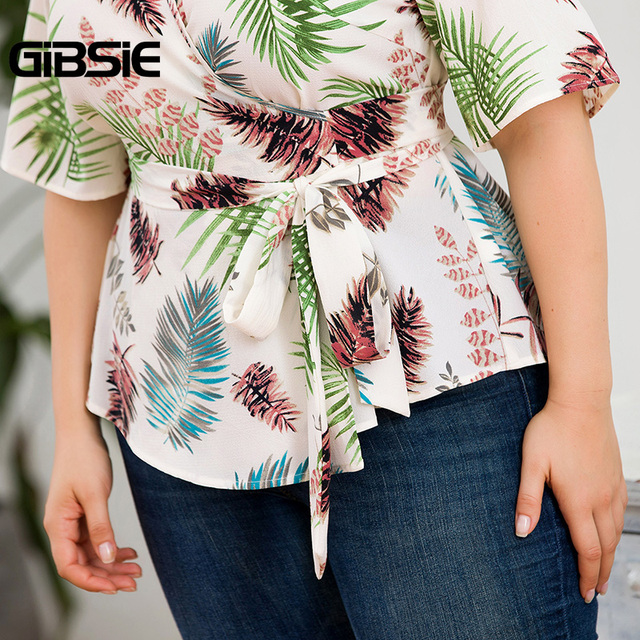GIBSIE Plus Size Tropical Print V-Neck Belted Wrap Top Blouse Women 2019 Summer Casual Short Sleeve Ladies Blouses Tops 5