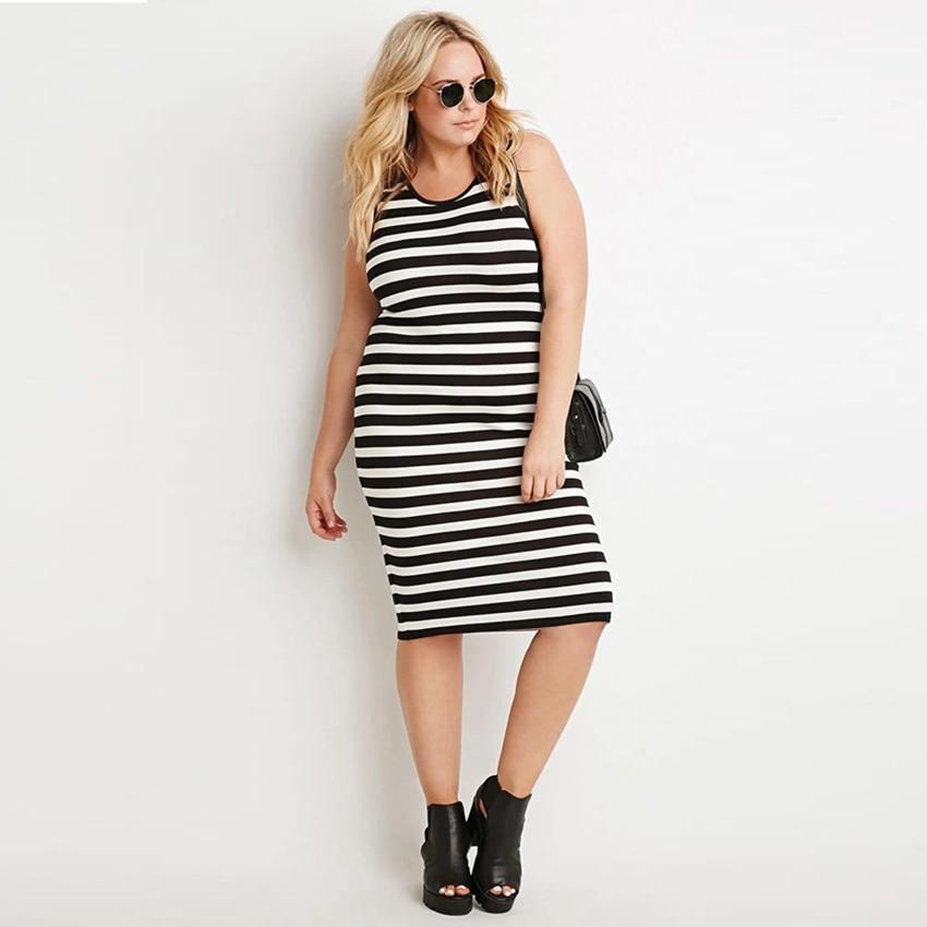 2015 Women Plus Size Dresses 4xl 5xl Black And White Striped Tank