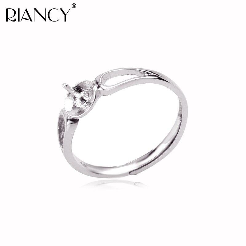 Módní 925 Sterling Silver Rings Držitel Přírodní Pearl Prsteny - Šperky