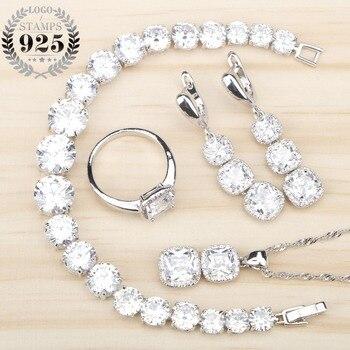 e7ae9e8cec00 Las mujeres de Zircon blanco de plata 925 conjuntos de joyas pulseras  colgante collar anillos pendientes con piedras joyas caja de regalo gratis