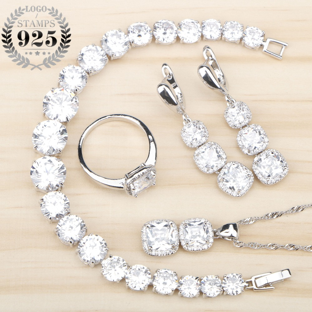 Women White Zircon Silver 925 Jewelry Sets Bracelets Pendant Necklace Rings Earrings With Stones Set Jewelery Free Gift Box natural stones silver 925 wedding jewelry sets white zircon pendant necklace for women bracelets earrings rings set gift box