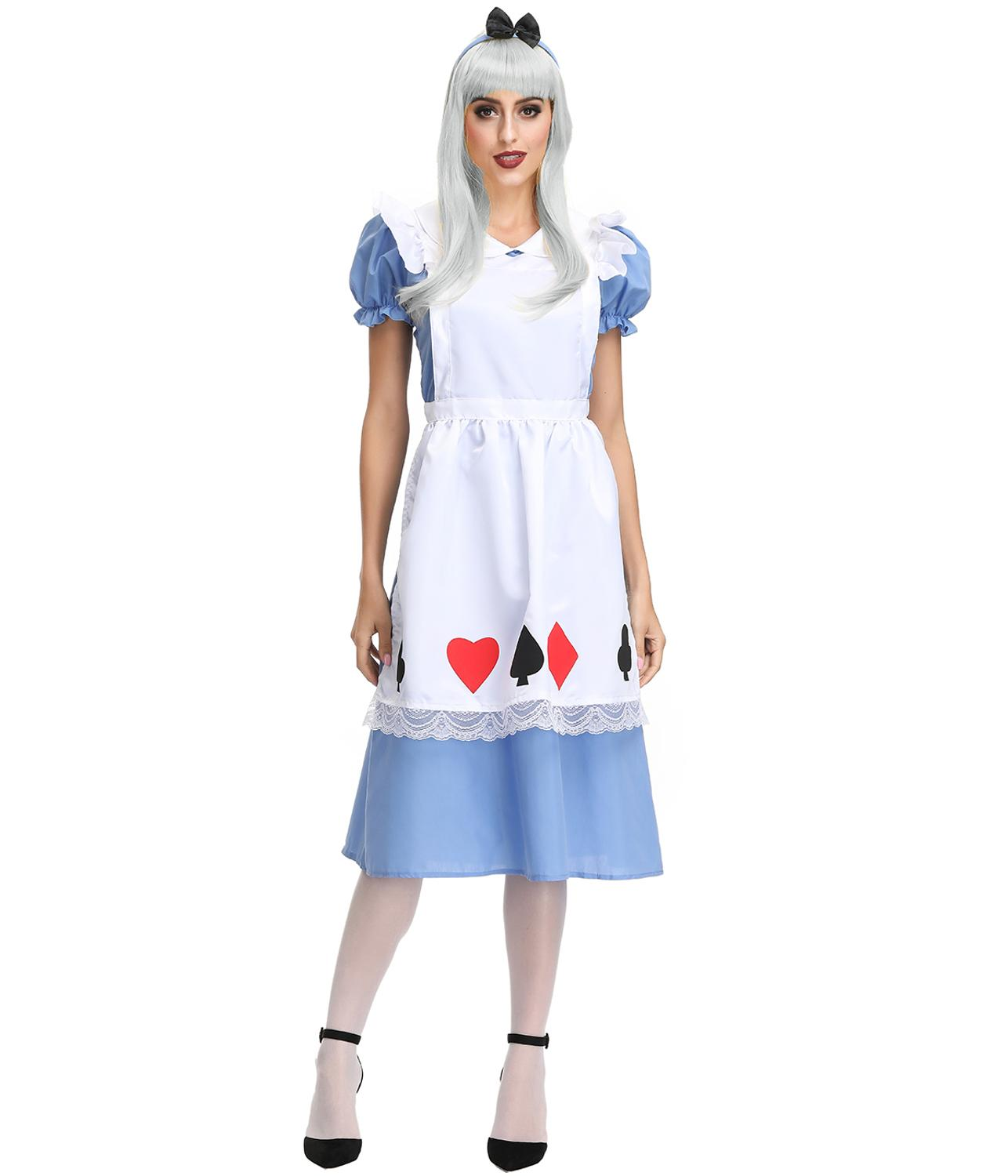 Alice in Wonderland Maid Lolita Blue Dress Costume For Halloween Cosplay Party