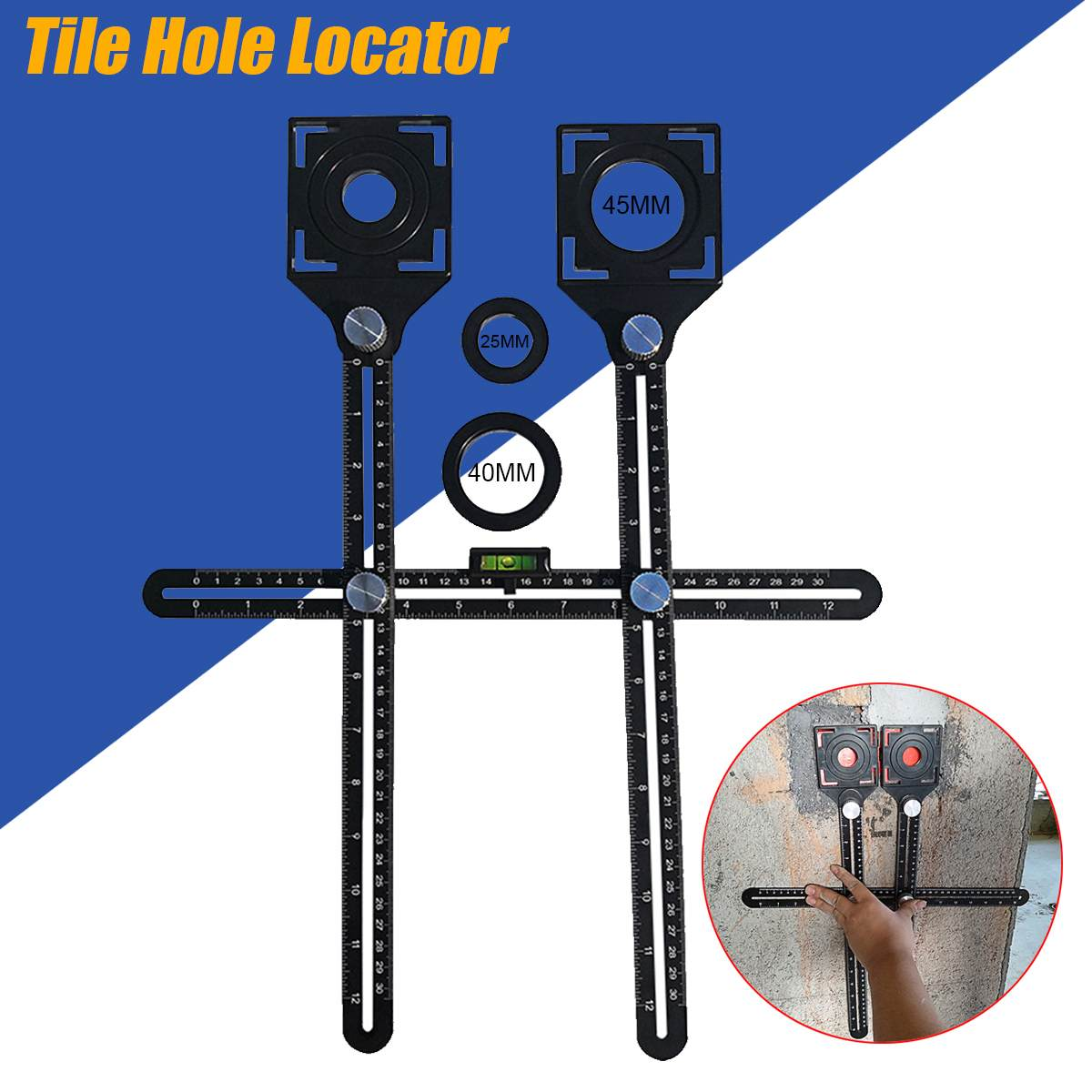 Double Head Multi Angle Measuring Ruler Protractors Adjustable Ruler Floor Tile Hole Locator Glass Woodworking Universal Puncher