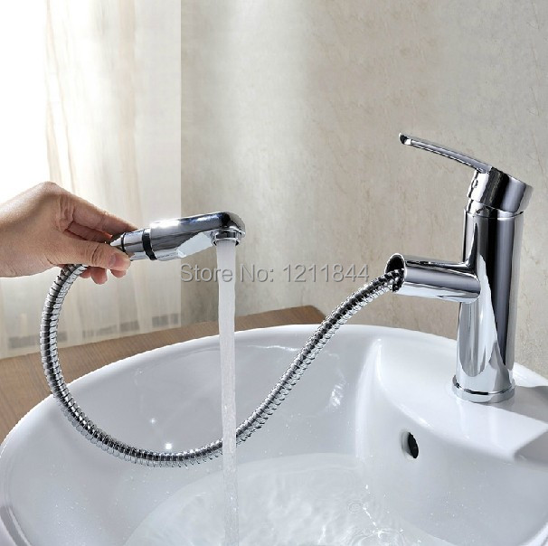 brass Deluxe Pullout Spray Kitchen Faucet Mixer Tap Pull out Sprayer Kitchen Faucet