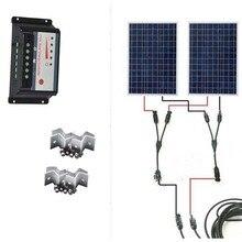 Solar Kit 24v 200w Module 12v 100w 2 Pcs Battery Charger Controller Regulator 12v/24v 30A Connector RV Camp