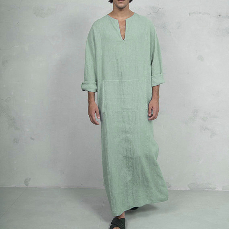 Oeak Men's Fashion Casual Cotton V-Neck Long Sleeve Side Split Vintage Robes New Muslim Islamic Arab Kaftan Robes