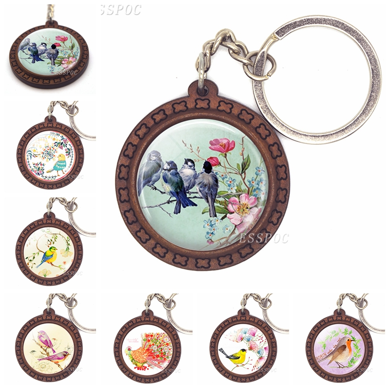 Bird Jewelry Blue Bird And Pink Flowers Glass Cabochon Keychain Wooden Keys Pendant Fashion Accessories For Women Lovers Gift