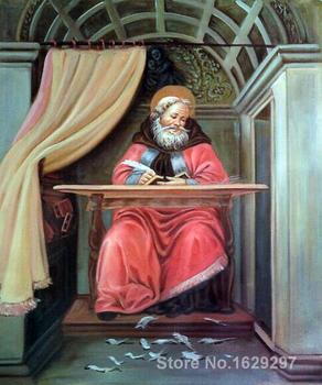 Portrait art abstract St. Augustine in his cell by Sandro Botticelli High quality Handmade
