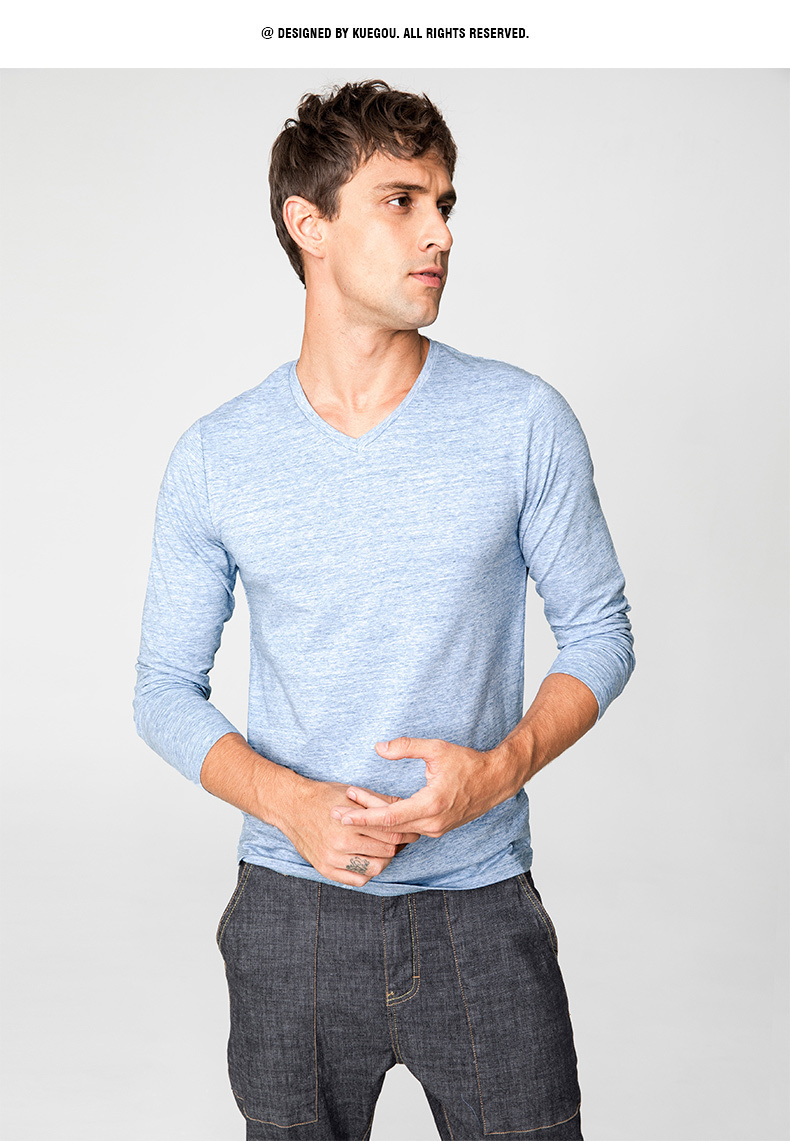 Autumn Men T Shirt Cotton V-Neck Blue Color For Man Casual Long Sleeve Slim Fit T-Shirt Male Wear 2018 New Tops Tee Shirt 268 13