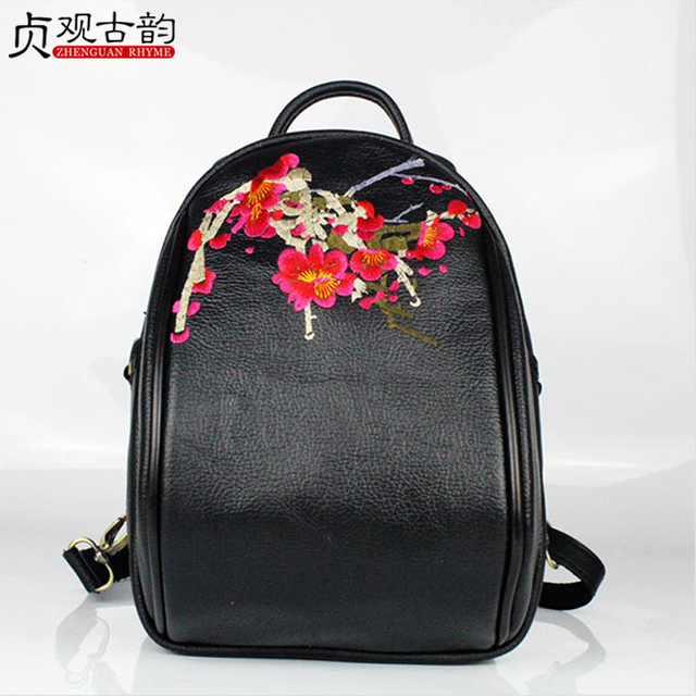 Women Cowhide Mini Backpack Handmade Ethnic Flowers Embroidery Lady Genuine Leather Outdoor Casual Lovely Girl Gift Travel Bag