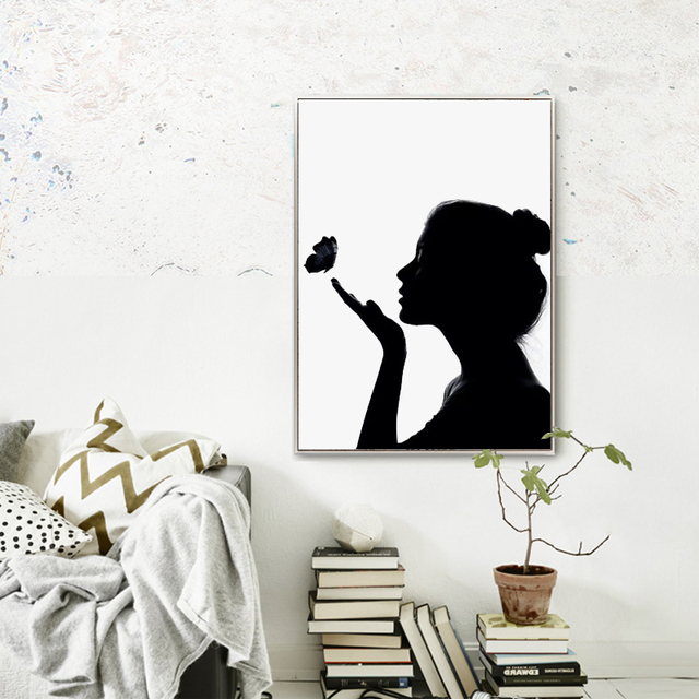 Black White Silhouette Of Canvas Art Print Poster Wall Picture For Living Room Decoration Home Decor Painting