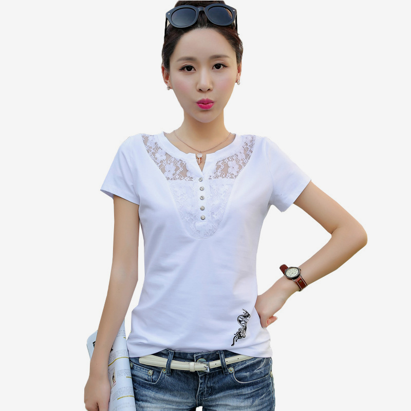 Women's Short Sleeve Lace Patchwork T-Shirt Print Office Lady Casual Women T-Shirts Plus Size 3XL 2019 Summer Tees Tops Female 3