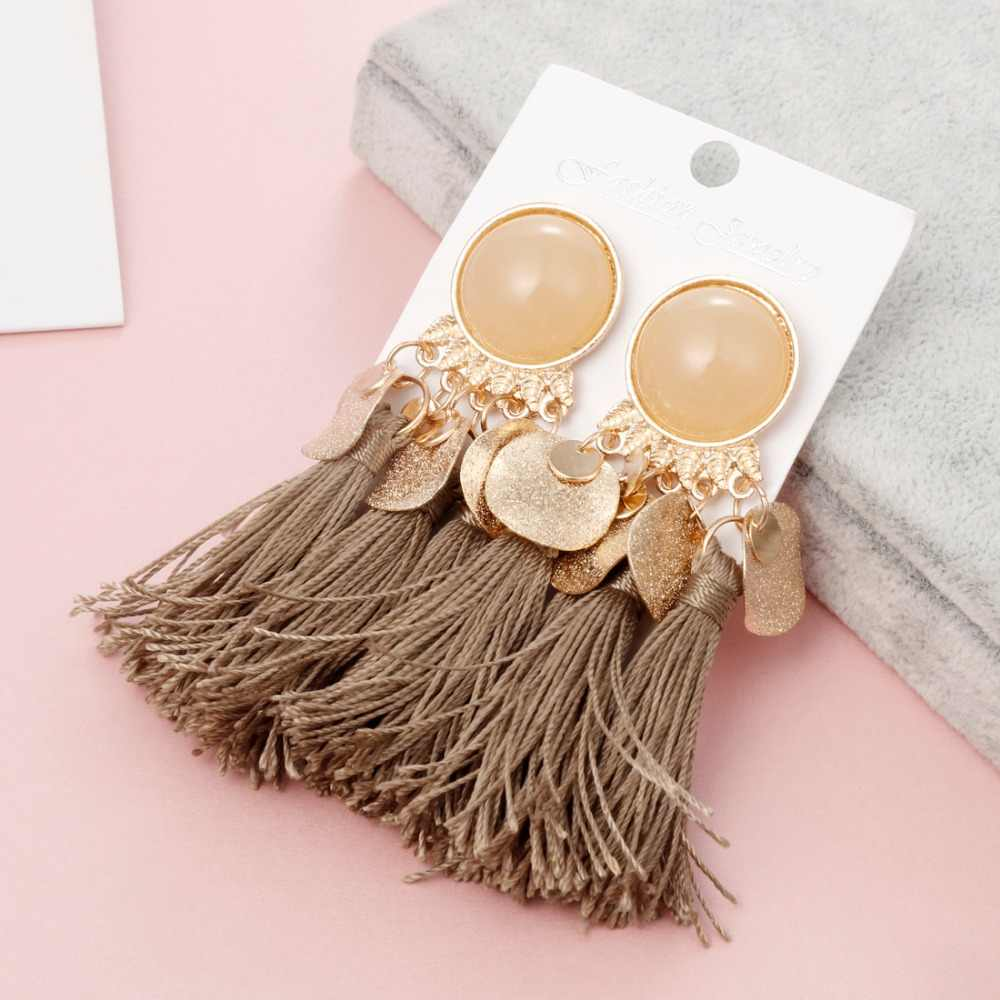 Bohemain Vintage Ribbon Drop Dangle Earrings Ethnic Big Fringed Round Resin Tassel Earrings for Women Fashion Long Earring