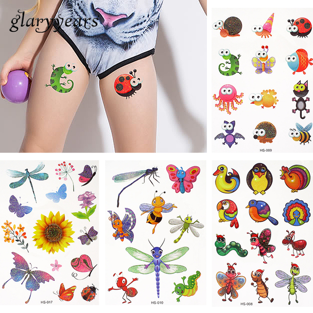 5 Pieces/set Child Girl Boy Temporary Tattoo Small Hand Abdomen Body Art Tattoo Sticker Waterproof Flash Glitter HS Decal Travel