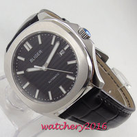 39mm Bliger Caixa de Aço Mostrador Preto Luminosa Movimento Automático mens watch|Relógios mecânicos| |  -