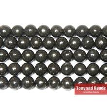 Natürliche Stein Eisen Pyrit Runde Lose Perlen 15