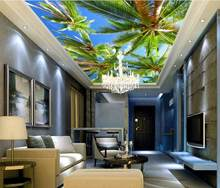 custom 3d ceiling murals Sea blue sea coconut sea birds wallpaper for bathroom 3d sky ceiling photo wallpapers ceiling(China)