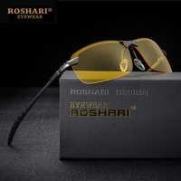 RoShari hombres gafas coche visión nocturna gafas Anti-reflejo gafas de sol hombres polarizados conducción gafas de sol retro gafas de sol