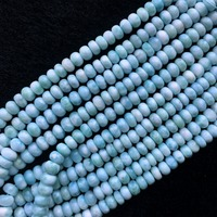 High Quality Natural Genuine Dominican Blue Larimar Loose Gemstone Smooth Rondelle Beads 4x7mm 15