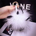 fur key chain Girl Fashion soft Trendy Real raccoon fur Ball Round key ring For Bag fur pom pom Women keychain