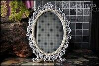Plegable de la aleación de plata retro mesa de tocador de maquillaje de escritorio espejo de aumento de metal en relieve antiguo marco de estaño