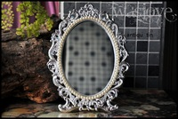 retro silver foldable alloy metal table makeup dresser desktop cosmetic mirror embossed antique tin frame
