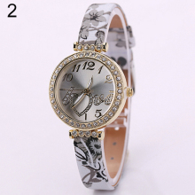 2016 New Design Fashions Women's  Lady Girl Love Heart Dial Fine Faux Leather Flower Strap Quartz Dress Wrist Watch