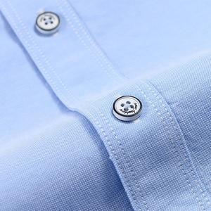 Image 5 - 2019 여름 짧은 소매 100% 코튼 옥스포드 쉬운 관리 일반 맞는 솔리드 스트라이프 격자 무늬 비즈니스 남성 캐주얼 셔츠