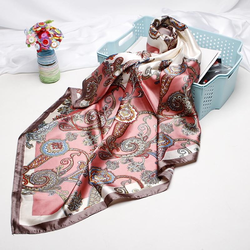 Fashion Hijab Scarf Women Print Silk Satin Scarves For Ladies 90cmx90cm Luxury Brand Square Beach Shawl Head Scarfs Female Wraps