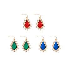 3 farben Rot/Grün/Blau Harz Geometrische Ohrringe Weibliche aliexpress Indien Frauen Kurzen Drop Ohrringe Schmuck Brincos