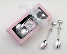 Fast Delivery Factory Direct Sale Wedding Favor Couple Coffee Spoon Souvenirs Blue / Pink Wholesale