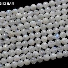 Meihan (2 السواحل/مجموعة) حقيقية A + 6 مللي متر + 0.2 قوس قزح moonstone السلس جولة الخرز حجر لصنع المجوهرات بالجملة