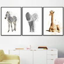 Giraffe Zebra Elephant Animals Wall Art Canvas Painting Nordic Posters And Prints Pictures For Living Room Kids Decor
