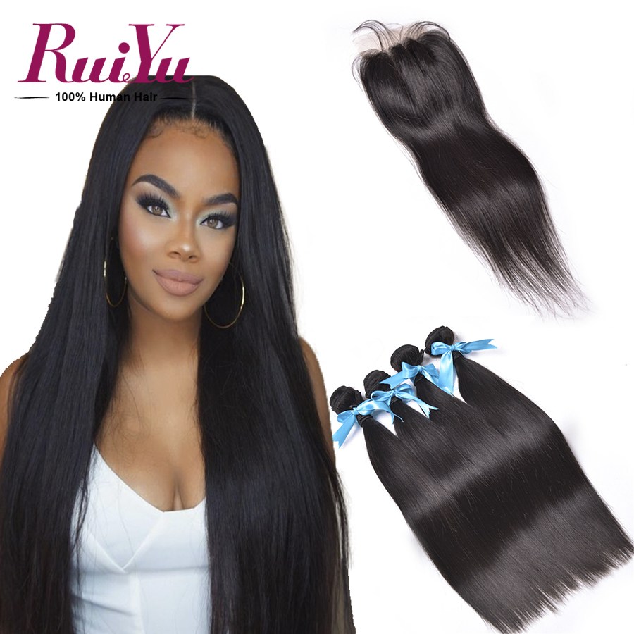 Brazilian Virgin Hair Straight With Closure 3 Bundles Straight Hair With Lace Closure Brazilian Hair Weave Bundles With Closure