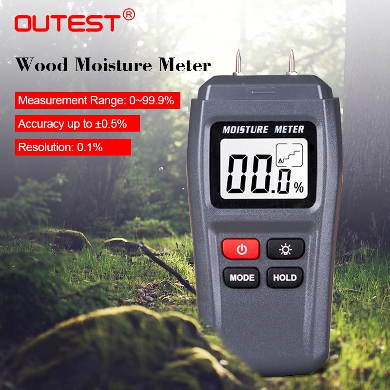 OUTEST Due Spilli Digitale Misuratore di Umidità del Legno Tester di Umidità di 0.5 per cento di Precisione Igrometro Legname Calda Damp Detector 0-99.9%