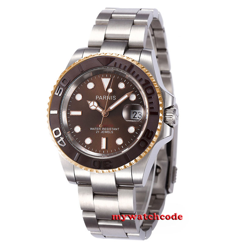 41mm Parnis brown dial golden case Sapphire glass Ceramic bezel miyota automatic mens watch 38mm parnis golden dial sapphire glass miyota automatic mens watch