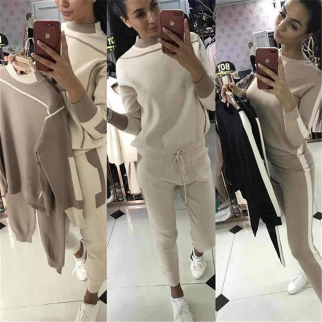 2018 Promotion Acetate Full Women Sweaters And Pullovers Women Suits New Knit Suit Hit Color Sweater Trousers Two-piece Female