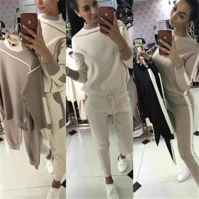 Women Fashion Suits 2018 New Women Knit Suit Hit Color Sweater Knit Trousers Two-piece Female
