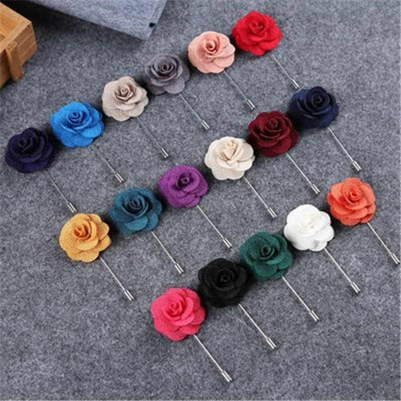 17 COLOR Wedding Silk Boutonniere Groom Brooch Buttonholes Groomsman Best Man Pin Hand Flowers Accessories Prom