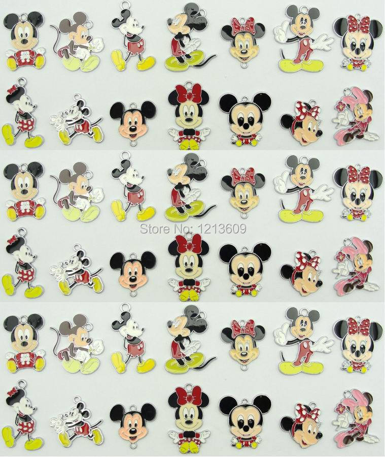 Pendants Mouse Charms Jewelry-Making Christmas-Gifts Mickey Minnie 100pcs Wholesale Mixed