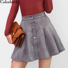 Colorfaith Mini jupe en daim pour femme, multicolore, jupe trapèze, boutons, taille haute, taille, automne hiver 2018