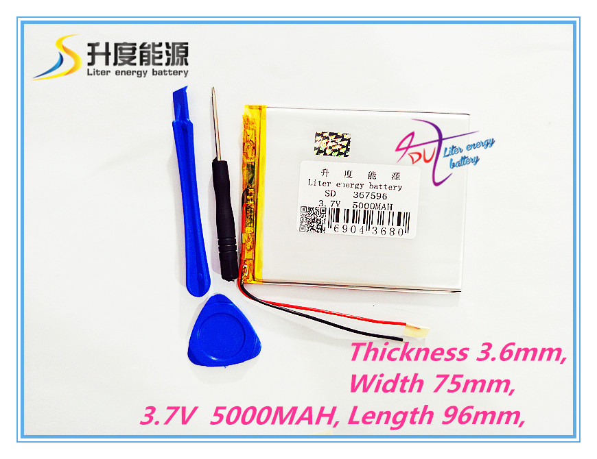 Tablet pc 367596 3.7V,5000mAH (Q88 tablet polymer lithium ion battery) Rechargeable battery for tablet pc 7 inch 8 inch 9inch